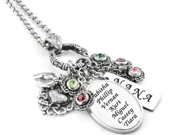 Grandma Necklace - Grandkid's Names - Grandmothers Pendant - Personalized Gift for Grandma - Nana Gift - Mimi Gift