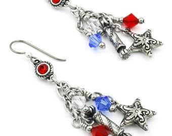 4th of July Earrings, Patriotic Jewelry, Red White Blue Earrings, Independence Day Earrings, Americana Earrings