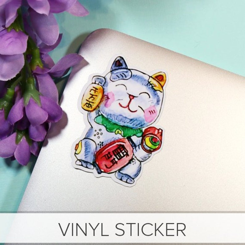 Maneki Neko  Large Vinyl Sticker  Art Designed by Me  image 0