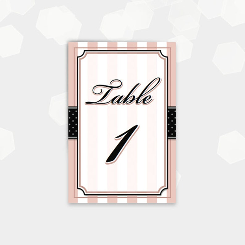 Paris Themed Table Number Cards  1-30  Birthday Party Shower image 0