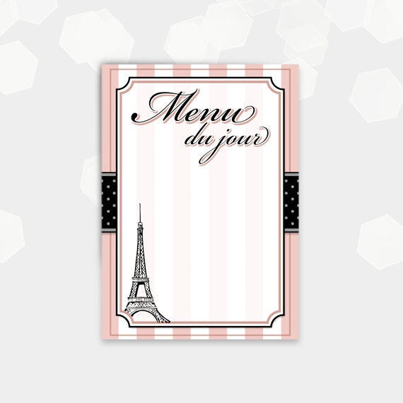 Paris Themed Menu Cards Blank Menu Du Jour Birthday Etsy