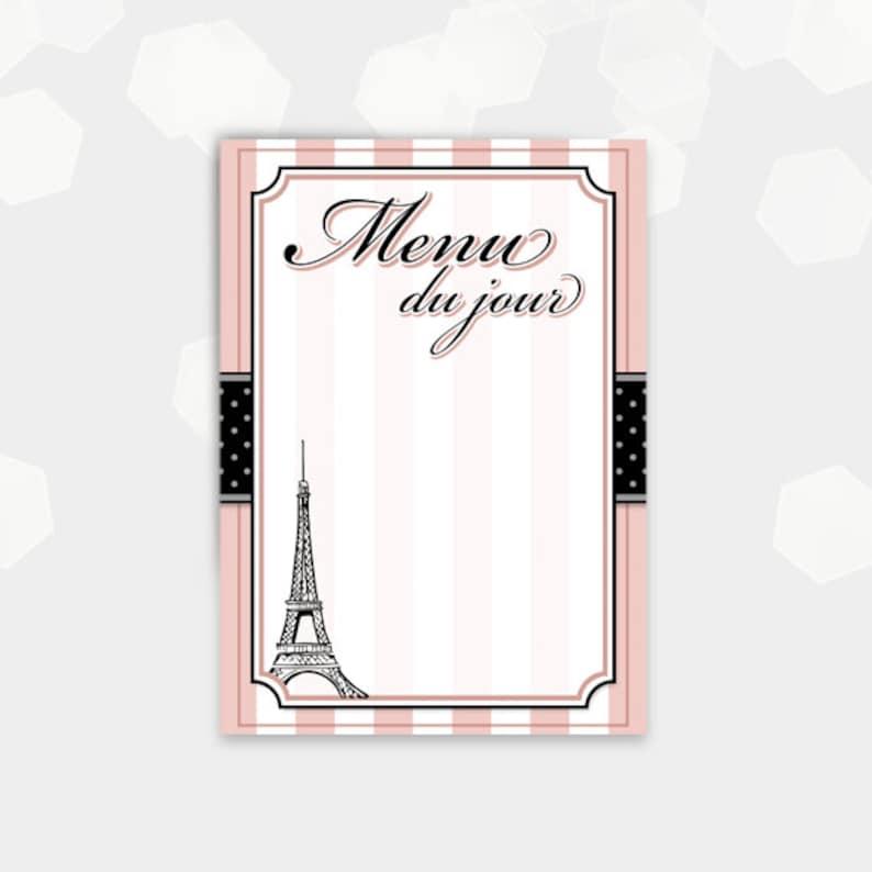 Paris Themed Menu Cards blank  Menu du jour    Birthday image 0