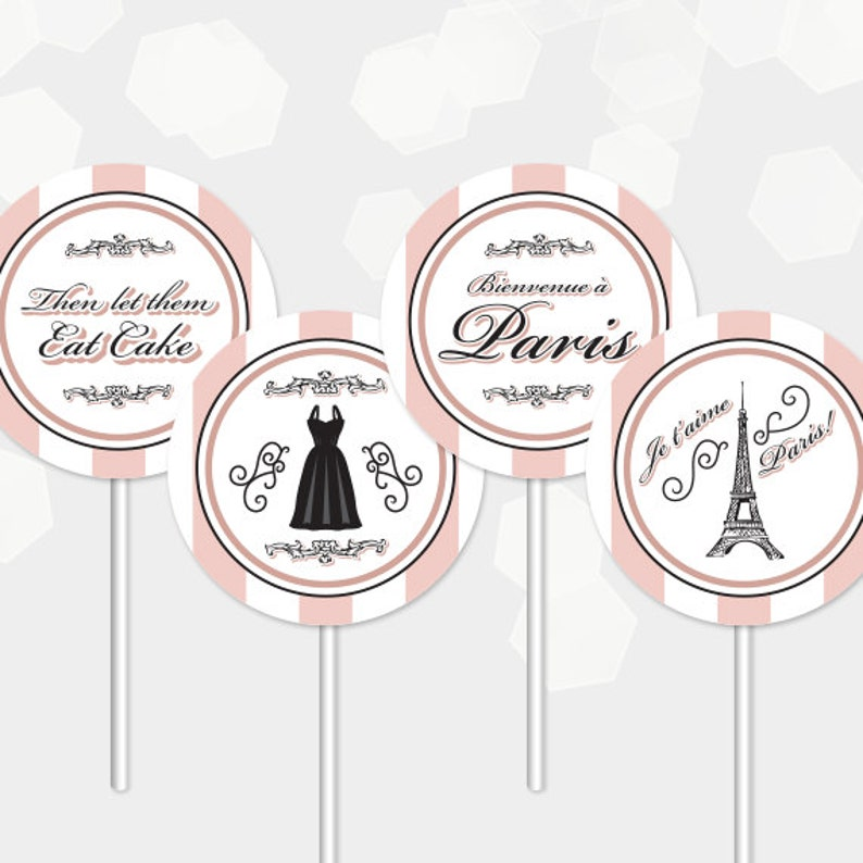 Paris Cupcake Toppers Themed Party  Birthday Shower Cocktail image 0