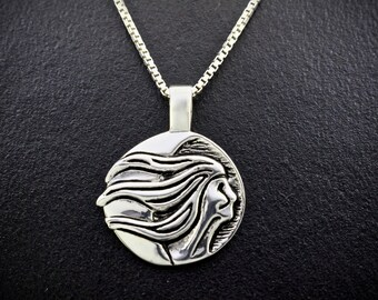 Fog Womans Moon Necklace (November), Sterling Silver, Re-purposed Sterling Silver Pendant