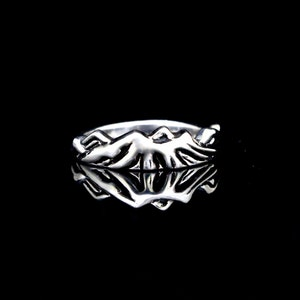 Gift for Him Outdoors Moonlit Mountain Ring,Gift for Her Sterling Silver Mountains Ring Hiking