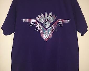Vintage Native Southwest Kokopelli T-Shirt-Raised Puffy Design-size Large 959999ff08cf