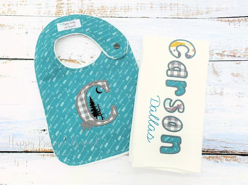 Baby Shower Gift New Baby Gift Arrows Baby Bib and Burp Cloth Set Personalized Baby Bib and Burp Cloth Set Minky Baby Bib