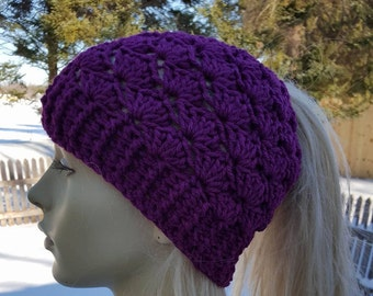 Shell Stitch Ponytail Hat Pattern