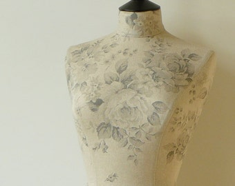 Mannequin Faded Roses Fabric Dressform Display Unique Gift Unusual - Octavia in grey, pink or blue