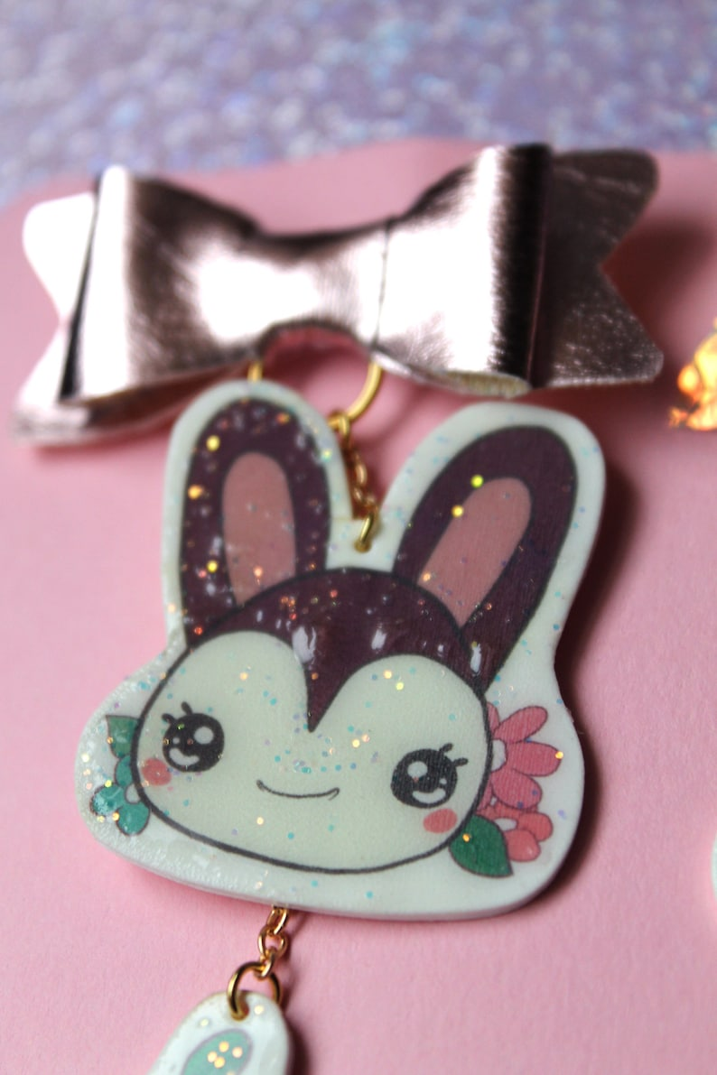 Dodo Airlines Flair Pin New Horizons Kawaii Jacket Pin Bow Bunnie New Leaf, Animal Crossing