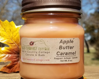 APPLE BUTTER and CARAMEL Candle - Apple Candles, Caramel Candles, Spice Candles, Fall Candles, Autumn Candles, Autumn Decor, Fall Decor