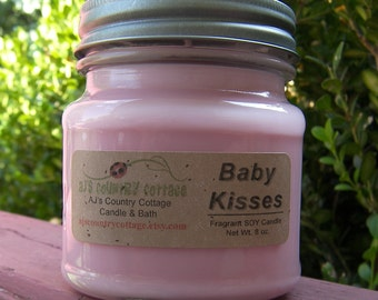 BABY KISSES SOY Candle - Baby Powder Candle - Baby Shower Favors - New Baby Gift - Clean Fresh Sweet