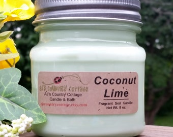 COCONUT LIME SOY Candle - Fruit Soy Candles, Coconut Candles, Lime Candles, Spring Candles, Summer Candles