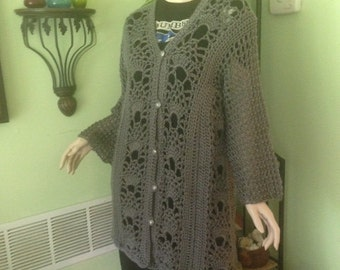 Sweater, women's sweater, cardigan, crochet, 2x bust, 3 x bust, 36 inch length, 48 inch inch length