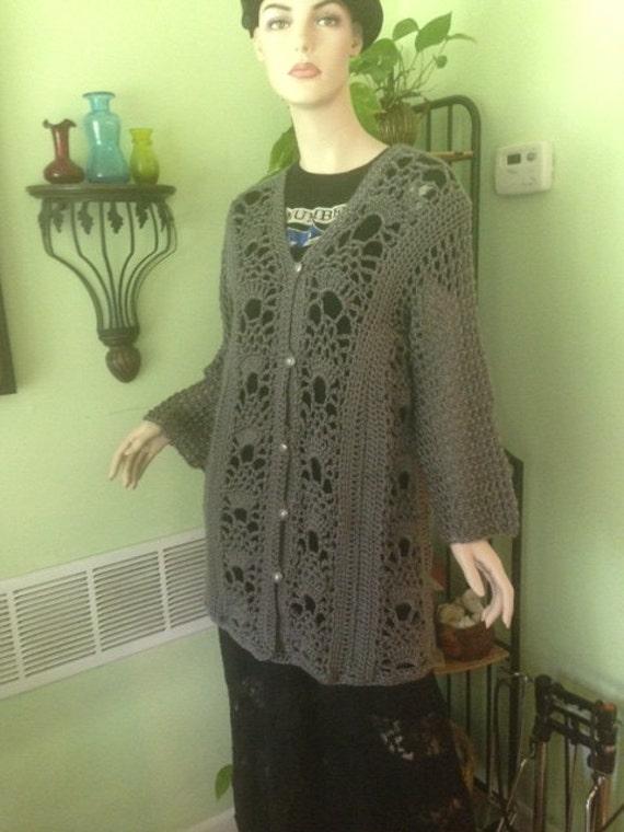 Damen Pullover Strickjacke Pullover häkeln L XL-Büste | Etsy