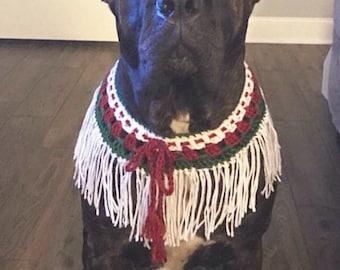 Large Dogs, Dog Collar, Red, Green, White Holidays, Christmas, Crochet, Dog Neckwear