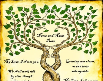 Two Trees Entwined Custom Wedding Vows Print with Parchment Background Marriage Personalized Wall Art Handfasting Certificate Pen and Ink