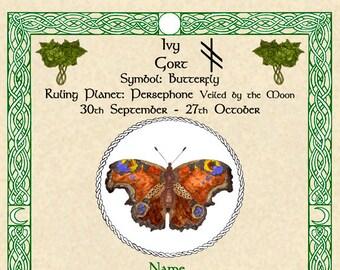 Celtic Zodiac Signs Druid Tree Lore Lunar Astrology Art Print 11x14 August to Dec Birthday Swan Salmon Butterfly Hound Horse Pagan Altar