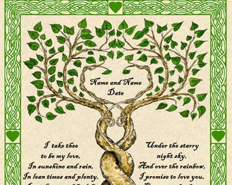 Two Trees Entwined Custom Vows Print Marriage Personalized Wedding Certificate w Celtic Border Handfasting Anniversary Valentine Wall Art