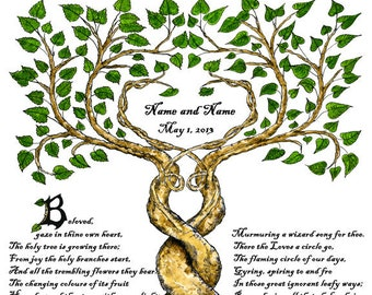 Two Trees Entwined 11x14 Personalized Wedding Print Custom Handfast Certificate w Poem Wall Art Anniversary Renew Marriage Vows Valentine's