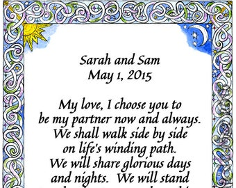 Colourful Border Custom Wedding Vows Print Personalized Handfast Certificate Wall Art Anniversary Renew Marriage Valentine's Day