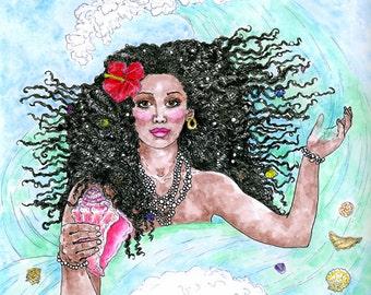 Yemaya Ocean Sea Goddess Print Mother of All Living Things Yoruba Santeria Fantasy Art Altar Decor Pen and Ink Watercolor Illustration