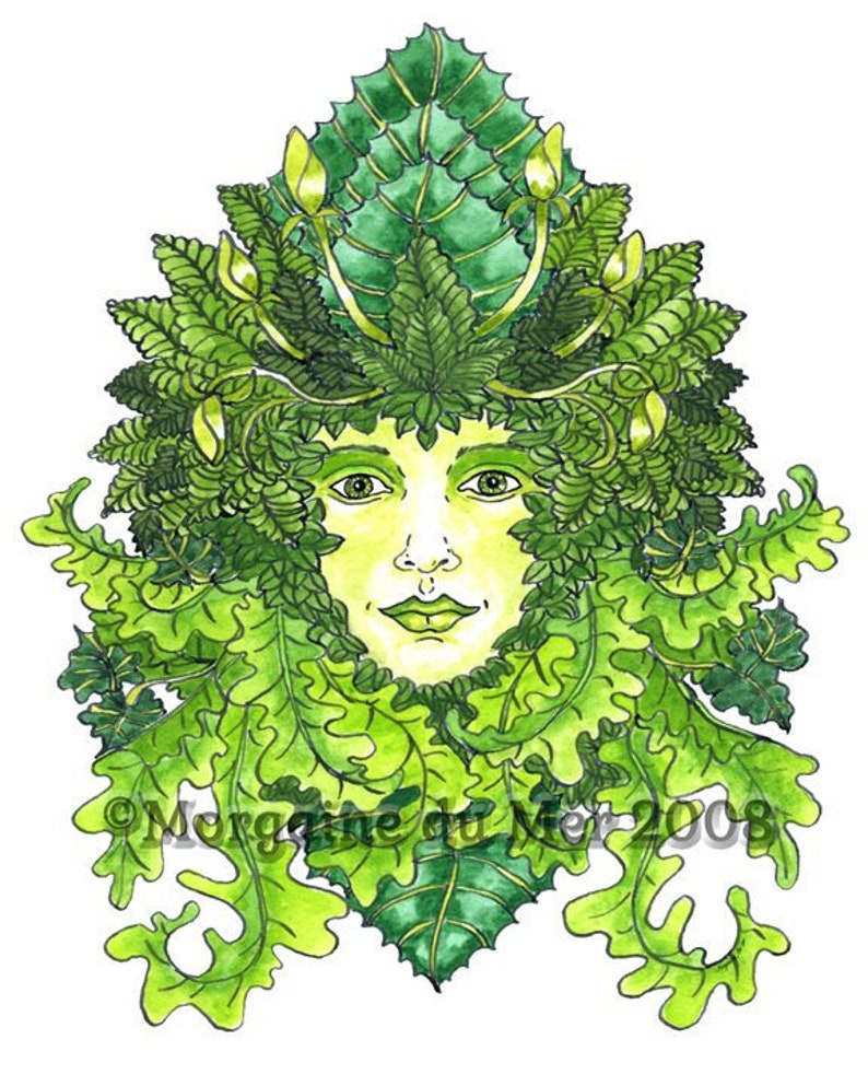 417a5d6549ab7 Green Woman ACEO Print Earth Mother Nature Goddess Mythology Pagan Altar  Decor Miniature Art Ink and Watercolour Illustration ATC