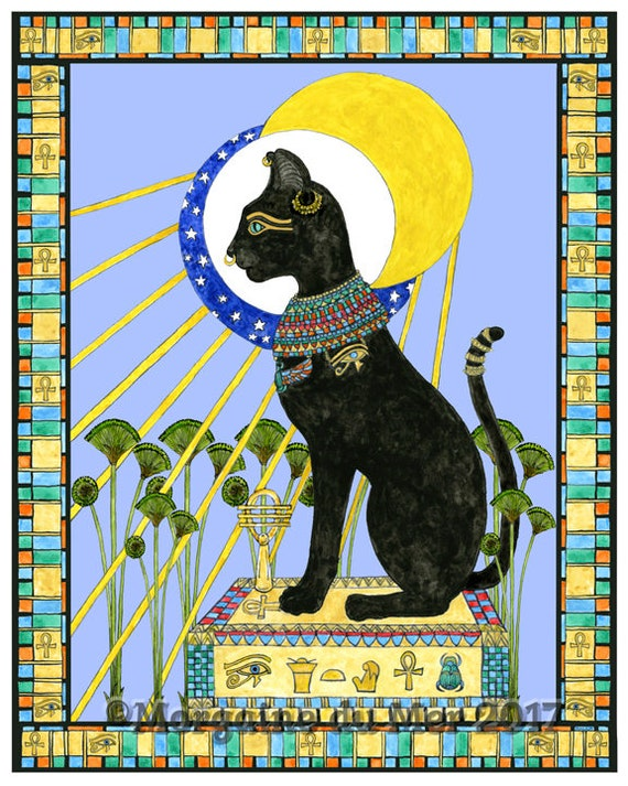 Bast Bastet Egyptian Cat Goddess Print Feline Mythology Sun Etsy