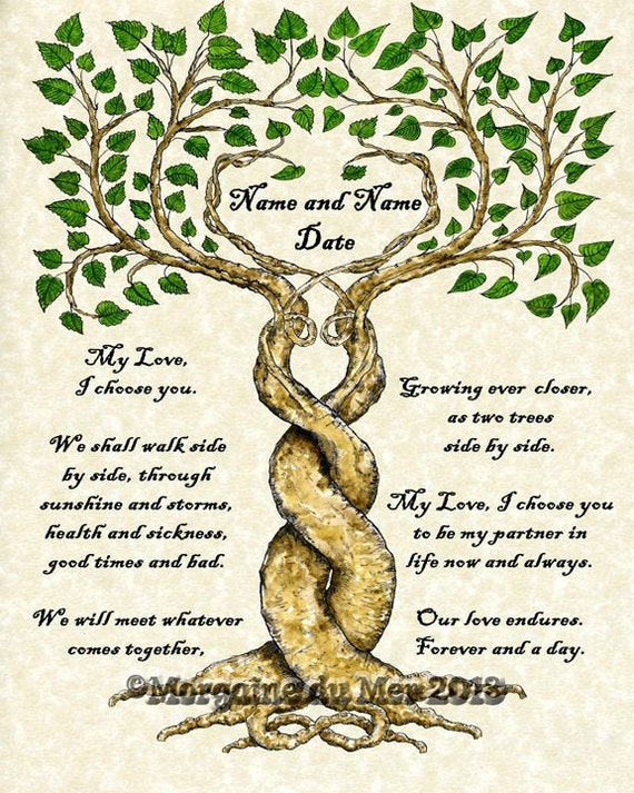 Two Trees Entwined Custom Wedding Vows Print On Parchment Marriage Personalized Ketubah Wall Art Handfasting Certificate Anniversary