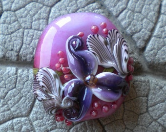 Pink Purple Floral Focal Lampwork Beads by Cherie Sra R114 Encased Flameworked Bead Floral Lampwork Pink Enamel Encased Floral Flower Bead