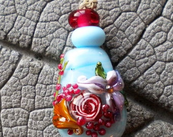 Rose Murrini Focal  Lampwork Beads by Cherie Sra R114 Encased Flameworked Bead Floral Lampwork Rose Murrini Blue Pink Purple Vine Canae