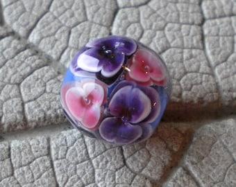 Purple Pink Blue Encased Floral Focal Lampwork Beads by Cherie Sra R114 Encased Floral Focal Purple Violet Pink Floral encased bead focal