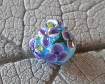 Purple Turquoise Vine Cane Encased Floral Focal Lampwork Beads by Cherie Sra R114 Encased Floral Focal Vine Cane Violet Floral encased bead
