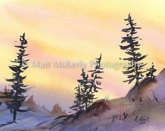 Golden Sun Fine Art Print from original watercolor