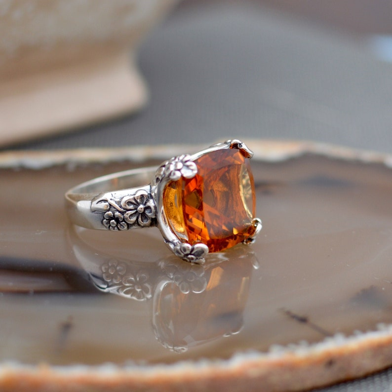 Madeira Citrine Cocktail Ring 9ct Big and Bold Ring Statement Ring Cushion Cut Gemstone 14mm 925 Sterling Silver Floral Ring Mounting