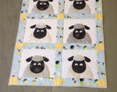 Baby quilt Crib quilt Childrens animal quilt Toddlers nap blanket with matching pillow Gender Neutral Lewe the Ewe baby quilt challenge