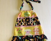 12 to 18 month toddler summer halter dress Love my Dog free shipping