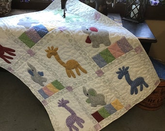 Giraffes and Elephants Crib Quilt /Toddlers nap blanket /Childs Quilted throw