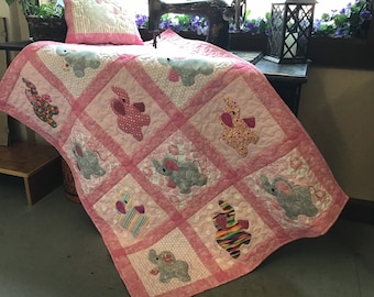 Elephant Treasures handmade baby quilt Crib quilt Toddler throw Elephant blanket with matching pillow cover