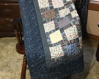 Quilted lap throw/ shades of blue/wheelchair blanket