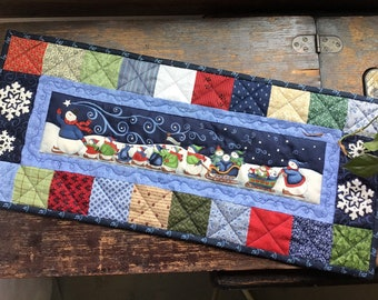Christmas Winter table topper/Holiday  runner/Winter patchwork quilt