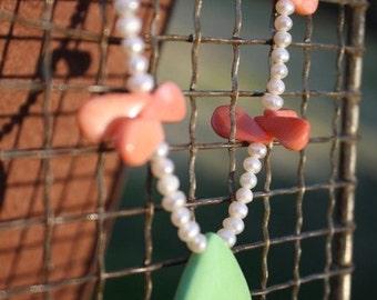 Apple Green Orange Coral White Pearl Necklace