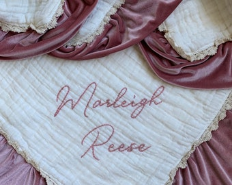 LACE Muslin Velvet Heavenly Lovey Six Layers with Personalized Hand Embroidered Name  ~ Organic Available ~ Gauze Lovey Blanket