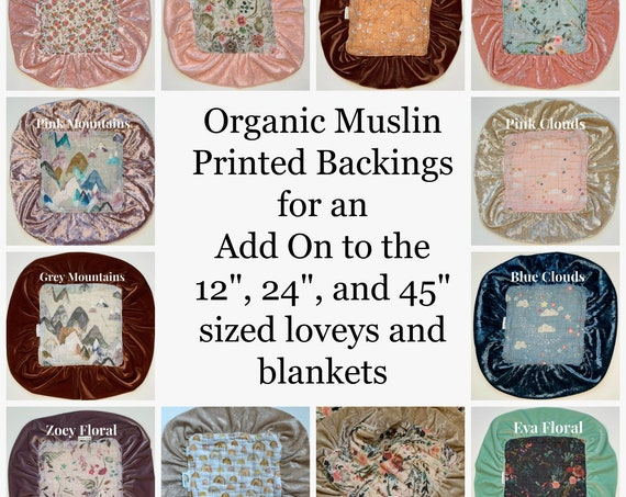 "Organic Patterned Backings for 12"", 24"", and 45"" Loveys and Blankets"