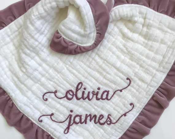 Loveys Muslin Velvet Heavenly Six Layers with Personalized Hand Embroidered Name ~ Baby Lovey ~ Organic Available ~ Gauze Lovey Blanket