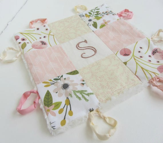 Baby Lovey Girl Blanket with Custom Hand Embroidery Name Or Initial ~Choice of Fabric Backing ~Flowers Blush Sage Green Ivory ~Arrows Leaves