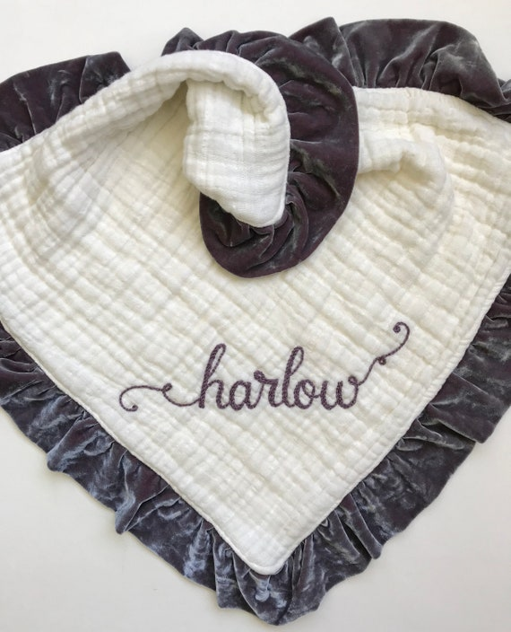 """Toddler Size Muslin Velvet Lovey Six Muslin Layers with Personalized Hand Embroidered Name ~ 24"""" Lovey ~ Organic Available ~ Doll Lovey"""