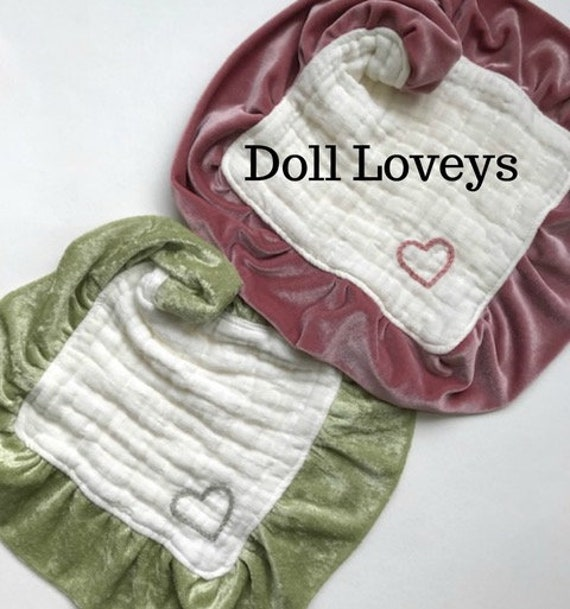Doll Lovey or Newborn Muslin Velvet Heavenly Six Layers Hand Embroidered Heart