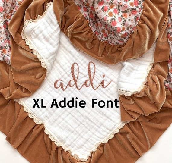 Extra Large Hand Embroidered Addie Font, One Listing per Letter