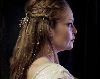 6 Strand Coin Pearl Crystal Bridal Hair Extensions Vines Bohemian Chic Illusion Veil Renaissance Bride Hairpiece Hippie Wedding Headpiece